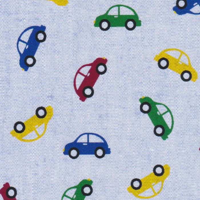 Primary Colored Cars On Blue Chambray
