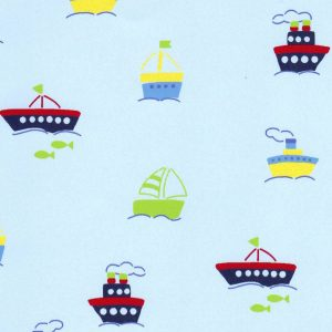 Boats On Blue Pique