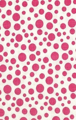 Hot Pink Dots On White Twill
