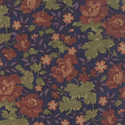 Hawthorn Ridge Flowers And Leaves On Denim Broadcloth